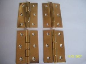 "4 X 3"" 75mm Steel Door Butt Hinges Brass Plated"